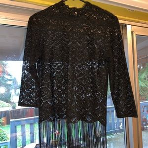 Black Lace top with fringe.